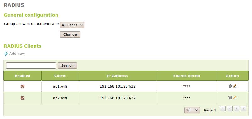 Network authentication service (RADIUS) — Zentyal 2 0