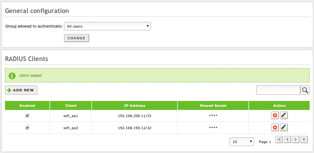 Network authentication service (RADIUS) — Zentyal 3 3