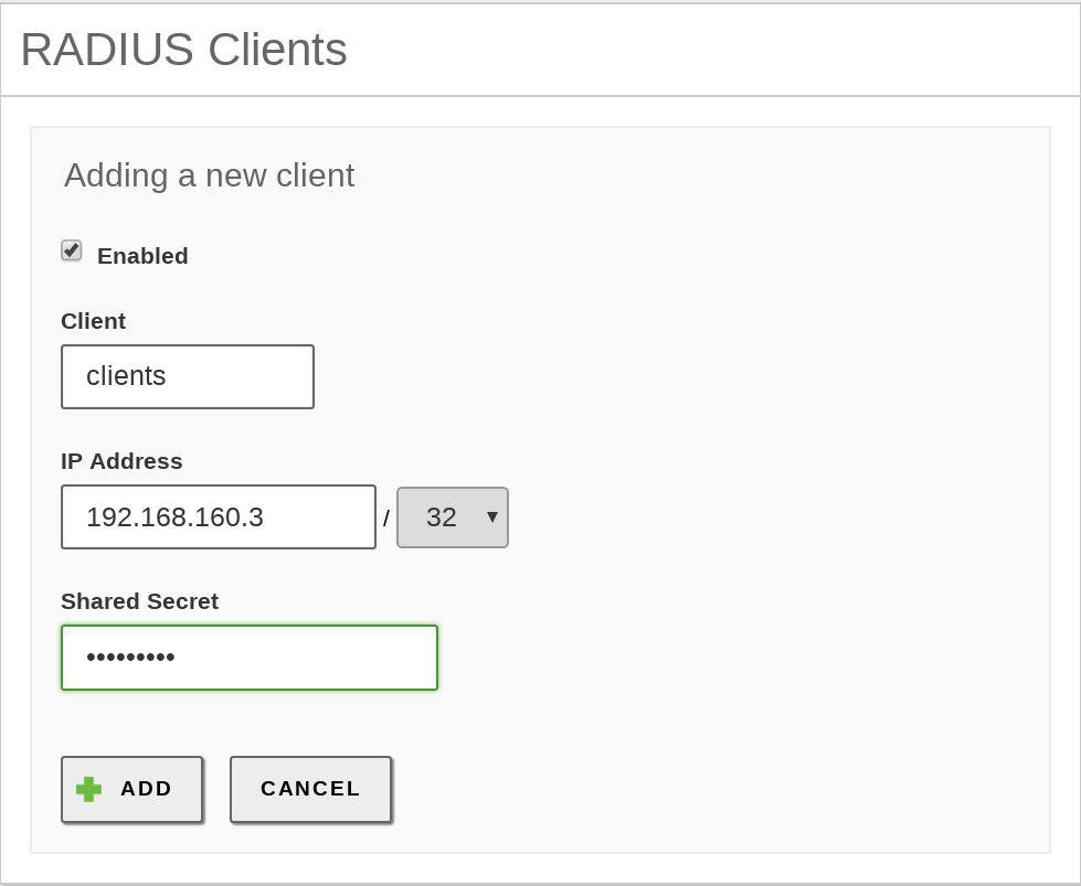 Network authentication service (RADIUS) — Zentyal 6 0